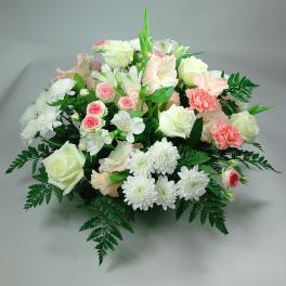 Coussin rond blanc et rose